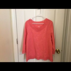 Pink Lace Embossed Neck Top